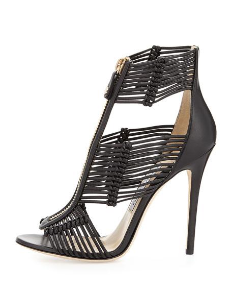 Jimmy Choo Katie Strappy Zip-Front Sandal, Black