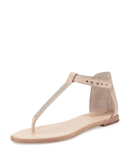 Brunello Cucinelli Monili Chain Flat Thong Sandal, Nude