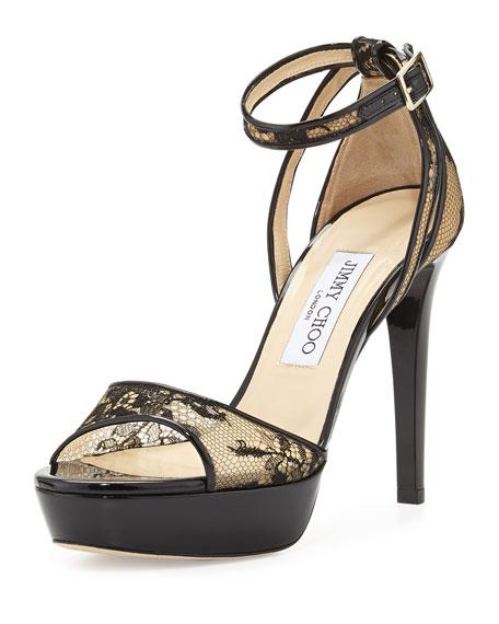 Kayden Lace Platform Sandal, Black
