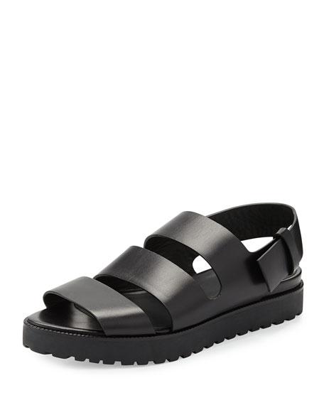 Alisha Leather Slingback Flat Sandal, Black