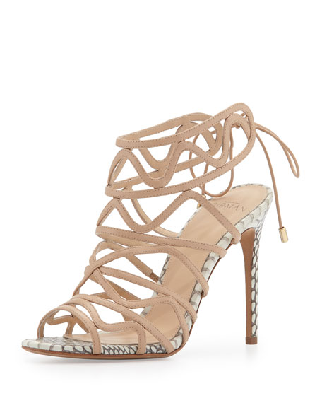Alexandre Birman Leather and Snakeskin Wavy Tie-Back Pump,