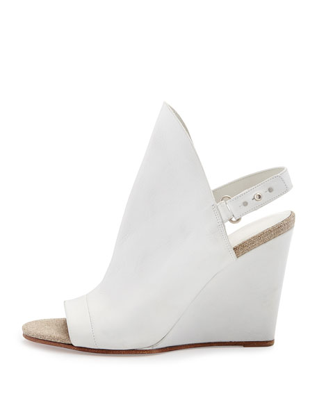 Kostel Open-Toe Slingback Wedge Bootie, Optic White