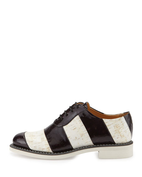 Striped Patent Cork Oxford, Zebra