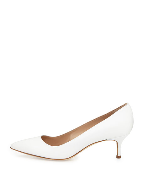 BB Leather 50mm Pump, White