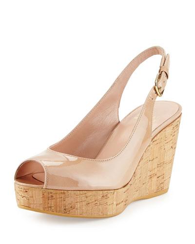 Jean Patent Peep-Toe Wedge Sandal, Adobe