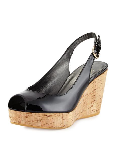 Stuart Weitzman Jean Patent Peep-Toe Wedge Sandal, Black