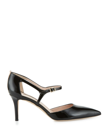 Phoebe Patent Mary Jane Pumps, Black