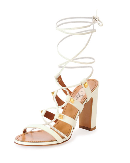 Valentino Rockstud High-Heel Gladiator Sandal, Light Ivory