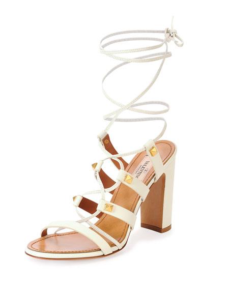 Valentino Garavani Rockstud High-Heel Gladiator Sandal, Light Ivory