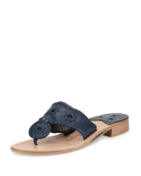 Jack Rogers Nantucket Leather Thong Sandal, Midnight
