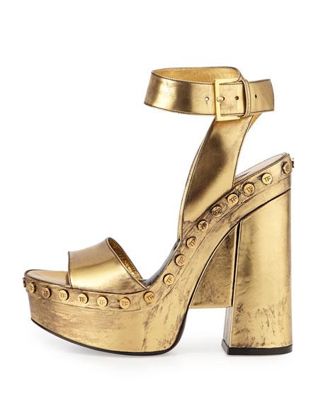 Metallic Ankle-Wrap Platform Sandal, Gold