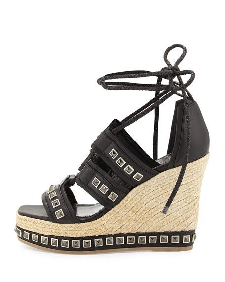Studded Espadrille Wedge Sandal, Black
