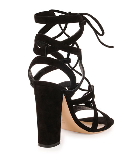 Strappy Tie-Front Suede Sandal