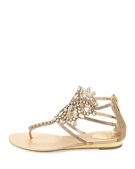 Crystal-Embellished Leather Flat Sandal, Gold