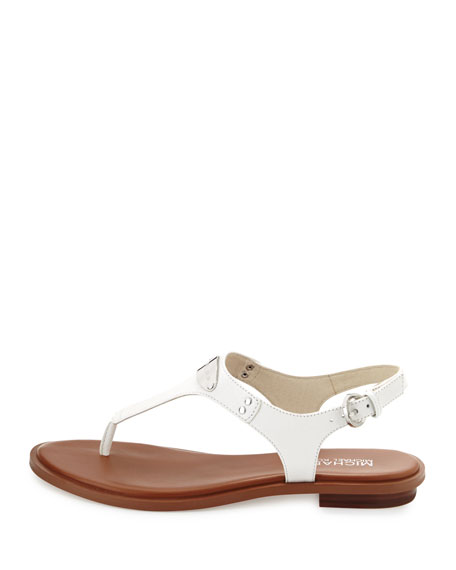 Logo Plate Leather Thong Sandal, Optic White