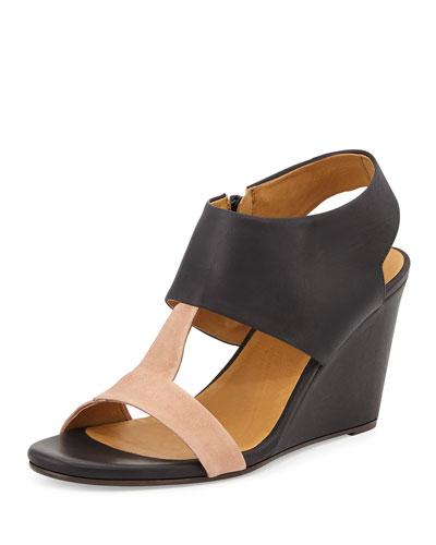 Jojo T-Strap Wedge Sandal, Black/Nude