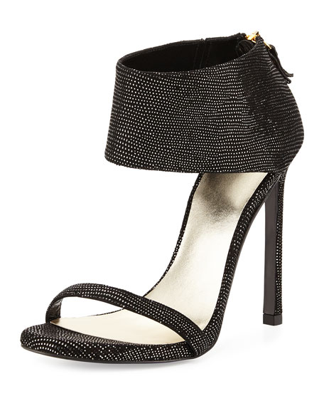 Stuart Weitzman Showgirl Ankle-Cuff Sandal, Night