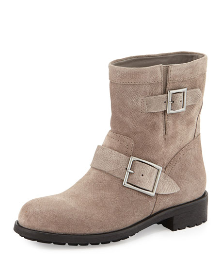 Jimmy Choo Youth Embossed Suede Biker Boot, Taupe