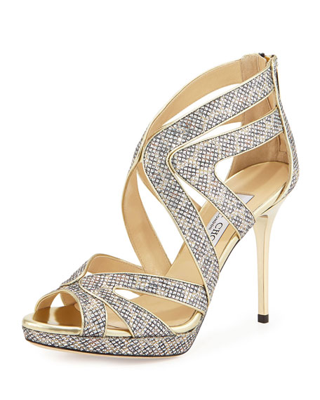 Jimmy Choo Karla Leopard-Print Glitter Fabric Pump, Flesh