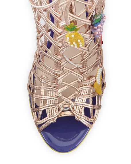 Delphine Fruit Gladiator Sandal, Rose Gold