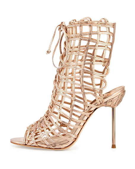 Delphine Metallic Gladiator Sandals, Rose Gold