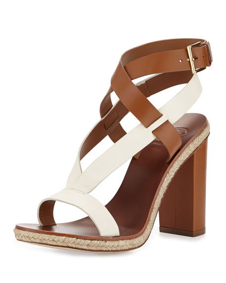 Marbella Leather Sandal, Royal Tan/Ivory