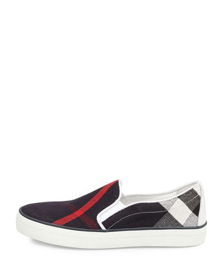 Gauden Check Canvas Skate Sneaker, Navy Check