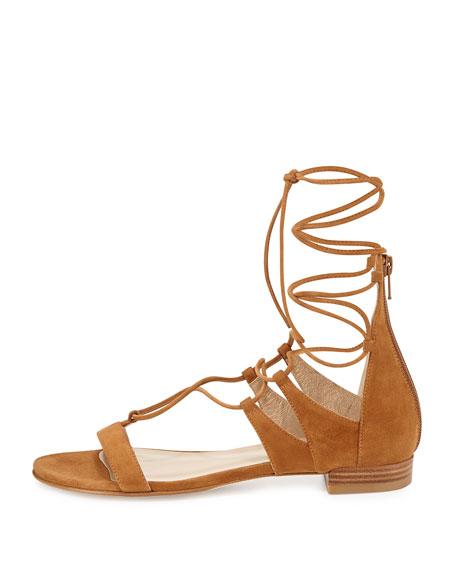 Tie-Up Suede Gladiator Sandal, Camel