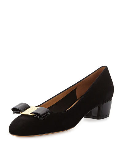 Salvatore Ferragamo  Vara Suede Bow Pump, Black