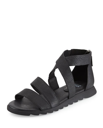 Zone Leather Multi-Strap Sandal, Black