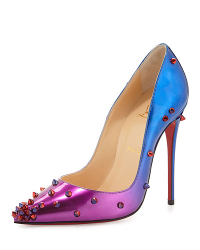DegraSpike Patent Red Sole Pump, Rose/Blue