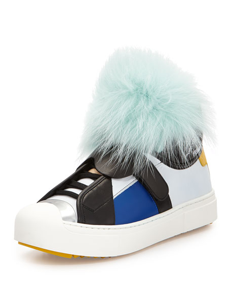 Fendi Karlito Leather Monster Sneaker, Aquamarine