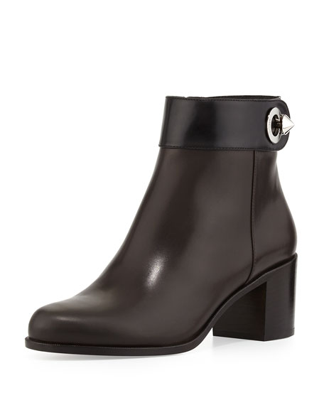 Leather Colorblock Ankle Bootie, Black
