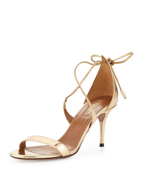 Aquazzura Linda Metallic Leather Sandal, Light Gold