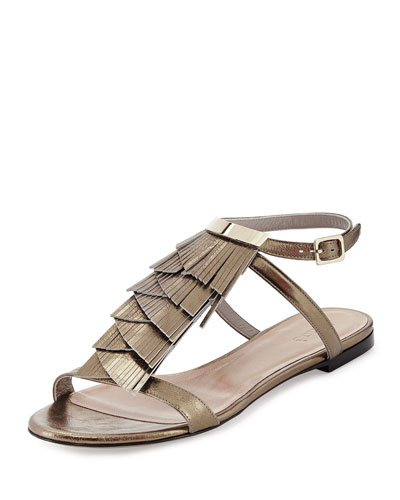 Fringed Ankle-Wrap Sandal, Antique Gold