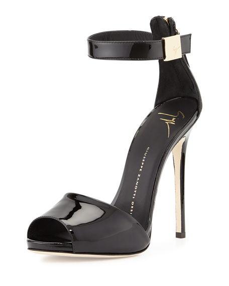 Giuseppe Zanotti Patent Ankle-Strap Sandal, Black