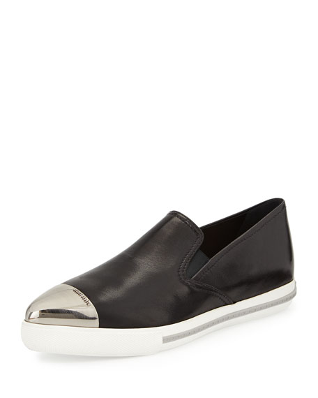 Miu Miu Metal Cap-Toe Loafer, Black