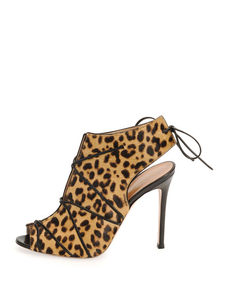 Open-Toe Calf-Hair Bootie, Leopard