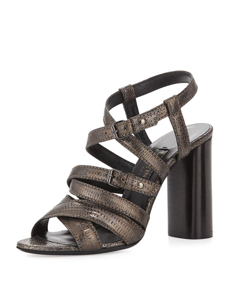 Lanvin Embossed Leather Strappy Sandal, Gunmetal