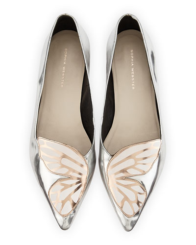 Papillon Metallic Leather Flat, Silver