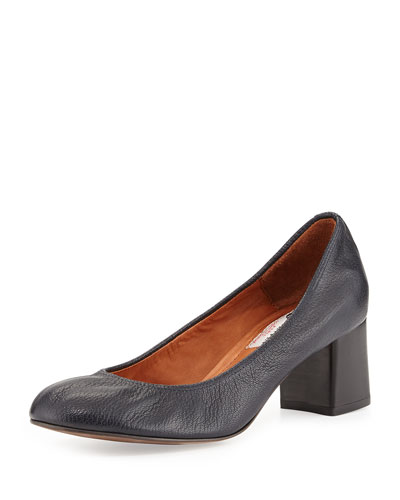 Tumbled Leather Cube-Heel Pump, Dark Blue