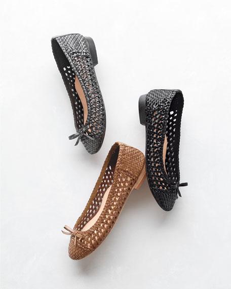 Bobo Woven Leather Flat, Tan