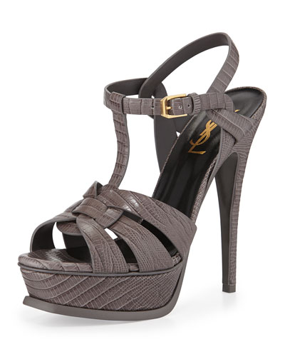 Tribute Lizard-Embossed Sandal, Earth