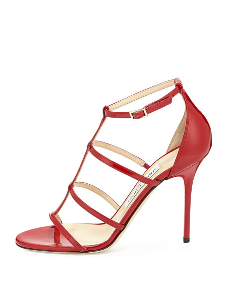 Dory Patent Leather Cage Sandal, Red