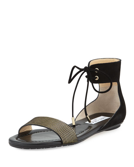 Jimmy Choo Nanson Striped Flat Sandal, Black/Gold
