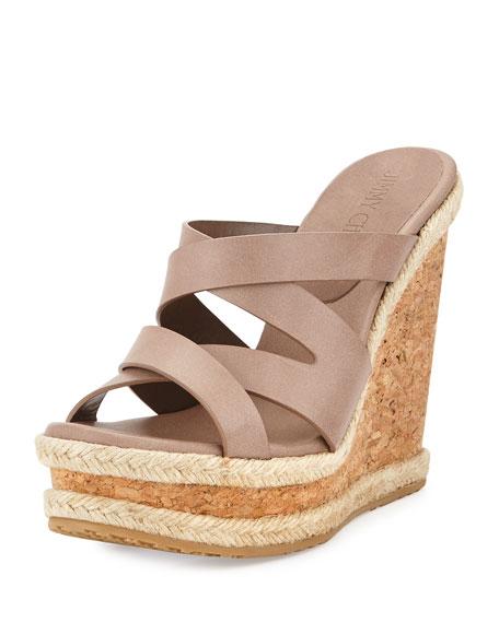 Jimmy Choo Prisma Vachetta Wedge Sandal, Mink