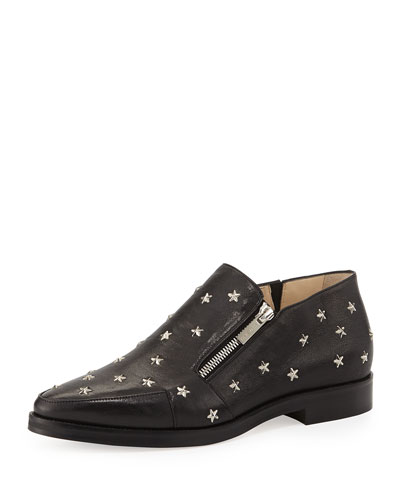 Maida Star-Studded Leather Loafer, Black/Silver