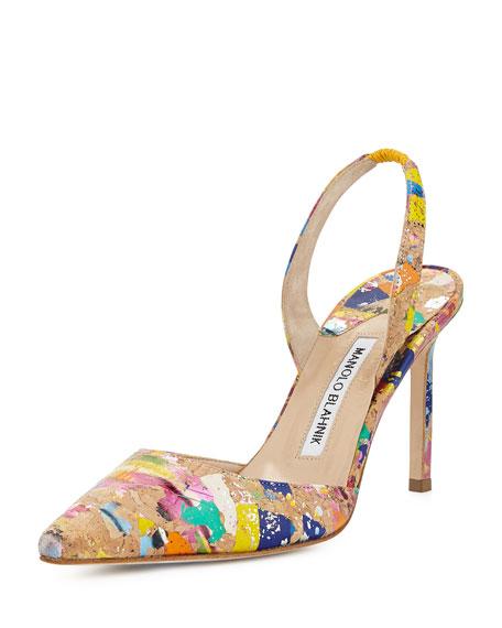 Manolo Blahnik Carolyne High-Heel Paint-Splatter Cork Halter