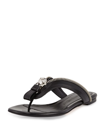 Skull-Zip Thong Sandal, Black