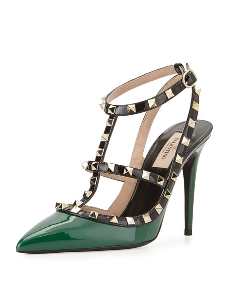Valentino Rockstud Patent Leather Pump, Emerald Colorblock